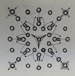 The developed version of the pattern with indicative designs as part of the layout